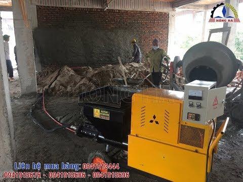 Bàn giao máy phun vữa trát tường động cơ điện 7,5kw/380v, phun khỏe, dễ sử dụng