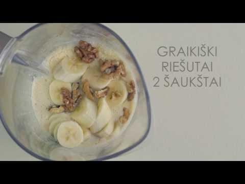 """Sojų pieno, bananų ir kivių kokteilis su Nominal """"Ryžių"""" koše"""