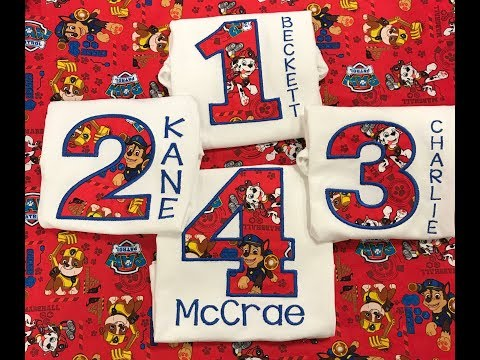 HOW TO EMBROIDER: Paw Patrol Birthday Shirt Appliqué