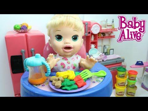 BABY ALIVE SARA COMILONA COMENDO ALMOCINHO DE MASSINHA PLAY DOH