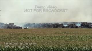 Hay Bales On Fire in Ames, IA from lightning light night - 8/5/2016