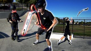DESTROYING A KID'S SCOOTER & GIVING HIM A BRAND NEW ONE!