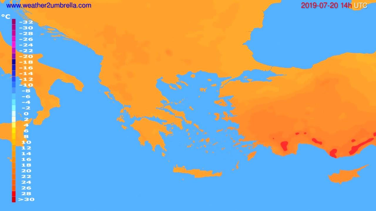Temperature forecast Greece // modelrun: 12h UTC 2019-07-18