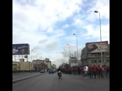 nostrovius - Hundreds of Ahly fans walking to the train station to go to Port Said for the match with Masry Club. More than 70 of these fans died in riots at the stadium ...