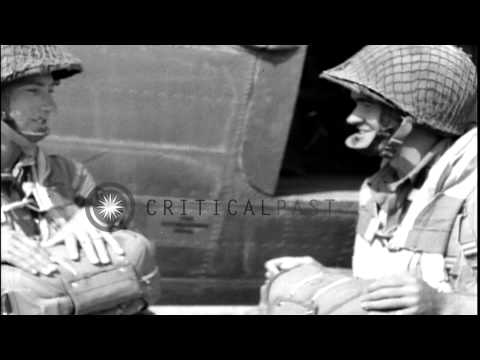 Paratroopers enter US aircraft C-47 HD Stock Footage