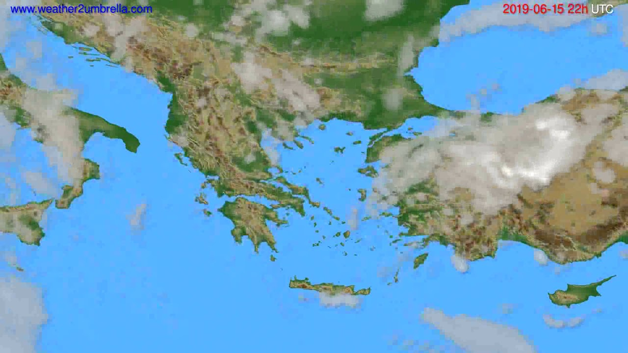 Cloud forecast Greece // modelrun: 00h UTC 2019-06-13