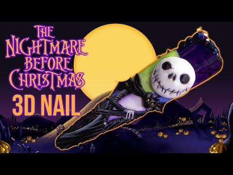 Acrylic nails - The Nightmare Before Christmas - HALLOWEEN 3D NAIL ART