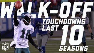 In honor of #TDTuesday, we look back at every walk-off TD from the past 10 seasons!Subscribe to NFL: http://j.mp/1L0bVBuStart your free trial of NFL Game Pass: https://www.nfl.com/gamepass?campaign=sp-nf-gd-ot-yt-3000342Sign up for Fantasy Football! http://www.nfl.com/fantasyfootballThe NFL YouTube channel is your home for immediate in-game highlights from your favorite teams and players, full NFL games, behind the scenes access and more!Check out our other channels:NFL Network http://www.youtube.com/nflnetworkNFL Films http://www.youtube.com/nflfilmsFor all things NFL, visit the league's official website at http://www.nfl.com/Watch NFL Now: https://www.nfl.com/nowListen to NFL podcasts: http://www.nfl.com/podcastsWatch the NFL network: http://nflnonline.nfl.com/Download the NFL mobile app: https://www.nfl.com/apps2016 NFL Schedule: http://www.nfl.com/schedulesBuy tickets to watch your favorite team:  http://www.nfl.com/ticketsShop NFL: http://www.nflshop.com/source/bm-nflcom-Header-Shop-TabLike us on Facebook: https://www.facebook.com/NFLFollow us on Twitter: https://twitter.com/NFLFollow us on Instagram: https://instagram.com/nfl/
