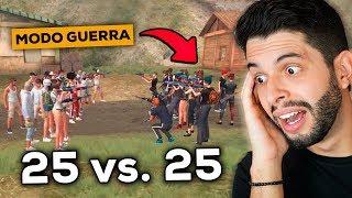 NOVO MODO GUERRA?!? PRIMEIRA PARTIDA 25x25 DO FREE FIRE!!!