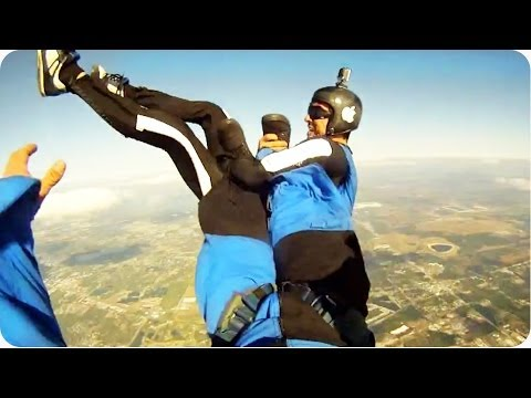 pranked - Shortly after jumping out of an airplane, one skydiver pranks another by grabbing onto his feet and stealing one of his shoes. Good luck finding that shoe! O...