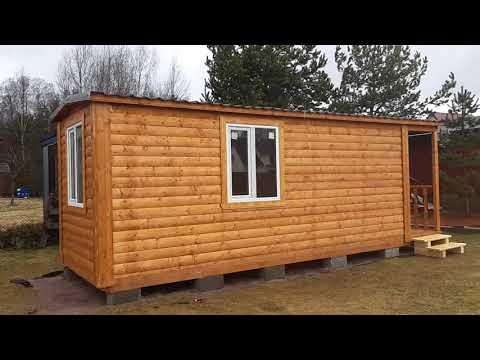 Видеообзор деревянного мобильного дома 2,3х7,0 м из профилированного бруса