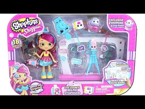 Shopkins Season 8 World Vacation Shoppies Doll Zoe Zoom's Selfie Stopover Unboxing Toy Review