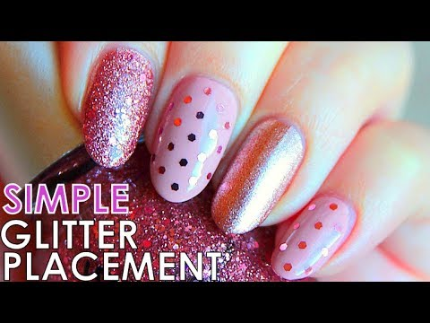 Glitter Placement Nails Tutorial  Simple Nail Art Designs