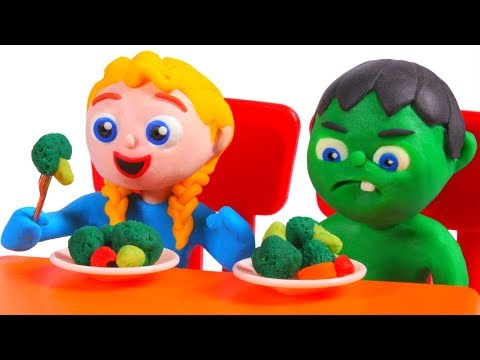 SUPERHERO BABIES EAT HEALTHY ❤ SUPERHERO PLAY DOH CARTOONS FOR KIDS