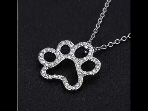 Best  Dog Paw Black with White Crystal Rhinestone Pendant Necklaces