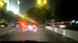 Nanchang China  city images : Traffic in Nanchang, China - Taxi ride at night