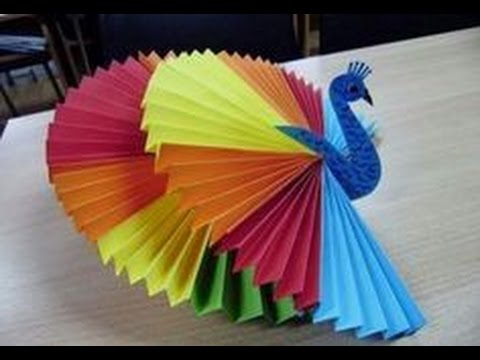 How to make 3d origami peacock....