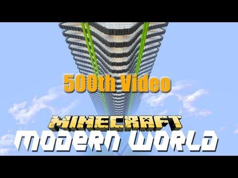 Minecraft Modern Skyscraper (500th Video) Modern World E41