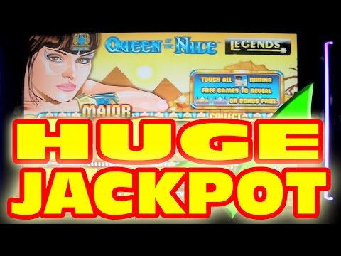 HANDPAY JACKPOT ON A QUARTER!!!!!  Queen of the Nile Slot Machine SUPER MEGA HUGE GIANT BIG WIN!!!!