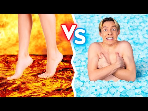 HOT VS COLD FOOD CHALLENGE    Last To STOP Eating Wins! Fire VS Icy For 24 Hours By 123 GO! BOYS