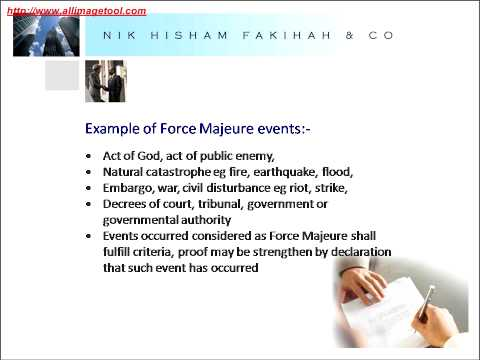 force majeure in construction contracts essay Construction agreements force majeure clauses – revisited  any delay costs in any way incurred by the contractor due to an event of force majeure.