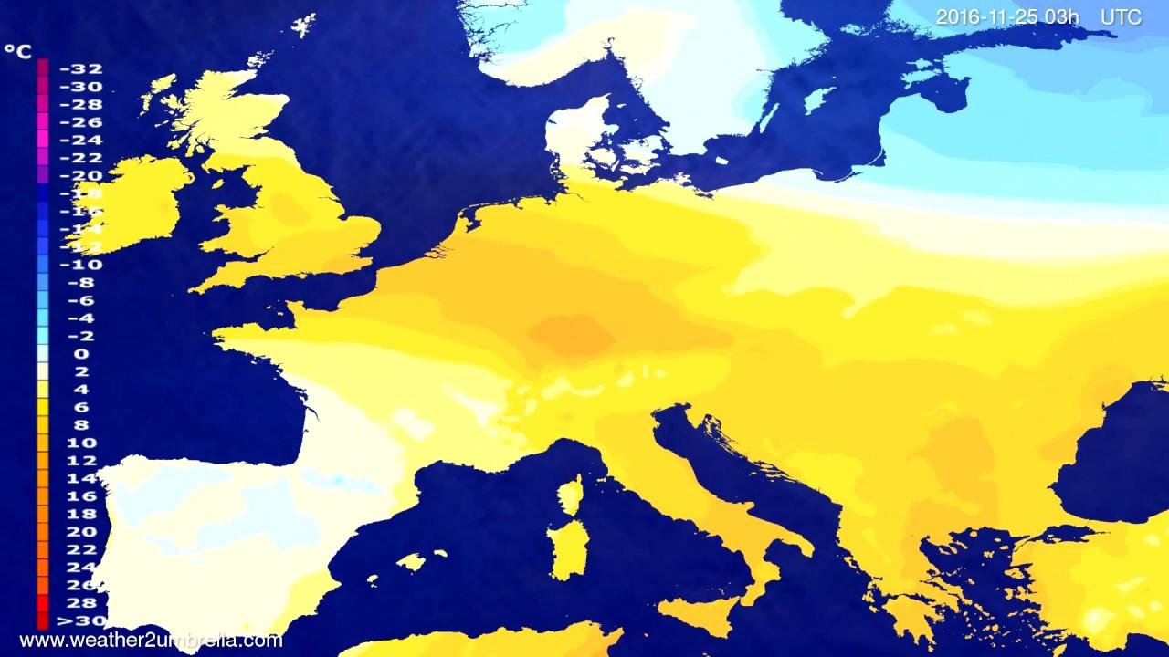 Temperature forecast Europe 2016-11-22