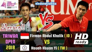 Video Firman Abdul Kholik Vs Hsueh Hsuan Yi • MS FULL HIGHLIGHTS • Taiwan Open 2018 • 3 Oktober 2018 MP3, 3GP, MP4, WEBM, AVI, FLV November 2018