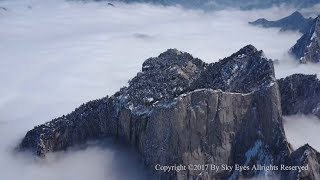 Snow covered HuaShan 华山 - aerial views