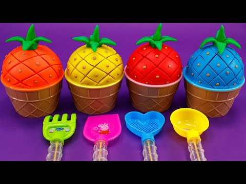 Learn Colors Pineapple With Play Doh  |  Mixing Egg And Fruits In Ice Cream Cup Cartoon