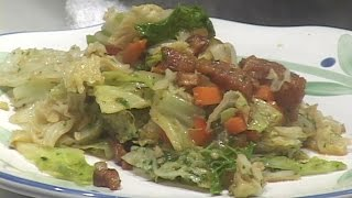 This video demonstrates how to prepare a Savoy cabbage dish with small diced mirepoix, bacon & bacon fat, garlic and a honey and white wine vinegar mixture.  This preparation can be completely prepped and staged in advance and then warmed up on top of the stove in 2-3 minutes – just before being served.  I'm using Savoy cabbage to demonstrate how little this particular cabbage needs to be cooked compared to regular green cabbage.  The cook can follow this method and formula and use the green cabbage instead of the Savoy but will need to blanch the cabbage a little more or cut it into smaller pieces then demonstrated in this video.  All in all, this is a very tasty and simple vegetable preparation that I've served in restaurants hundreds of times over the years.  I highly recommend this item for regular or special meals.