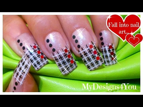 How to Net Plaid Nail Art | Black and White Nails | French Tip Nail Design ♥