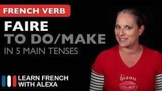 Alexa teaches you how to conjugate Faire (to do/make) in 5 main French tenses. SUPPORT GUIDE and EXCLUSIVE VIDS at ► https://learnfrenchwithalexa.com. Test your French level with our partner KWIZIQ ► http://learnfren.ch/testyourlevel ----------------------------------------------SUPPORT MY VIDEOS My Patreon page ► https://patreon.com/french----------------------------------------------RECOMMENDED PLAYLISTSCommon French Verbs  ► http://learnfren.ch/verbsLFWA----------------------------------------------MY LIVE LESSONSJoin my live lessons ► http://learnfren.ch/live-lessons----------------------------------------------MY LINKSMy Blog ► https://learnfrenchwithalexa.com/blogFacebook ► http://learnfren.ch/faceLFWATwitter ► http://learnfren.ch/twitLFWALinkedIn ► http://learnfren.ch/linkedinLFWANewsletter ► http://learnfren.ch/newsletterLFWAGoogle+ ► http://learnfren.ch/plusLFWAMy Soundcloud ► https://soundcloud.com/learnfrenchwithalexaT-Shirts ► http://learnfren.ch/tshirtsLFWA----------------------------------------------MORE ABOUT LEARN FRENCH WITH ALEXA'S 'HOW TO SPEAK' FRENCH VIDEO LESSONSAlexa Polidoro a real French teacher with many years' experience of teaching French to adults and children at all levels. People from all over the world enjoy learning how to speak French with Alexa's popular online video and audio French lessons. They're fun, friendly and stress-free! It's like she's actually sitting there with you, helping you along... Your very own personal French tutor.Please Like, Share and Subscribe if you enjoyed this video. Merci et Bisou Bisou xx----------------------------------------------Ready to take your French to the next level? Visit ► https://learnfrenchwithalexa.com to try out Alexa's popular French courses.