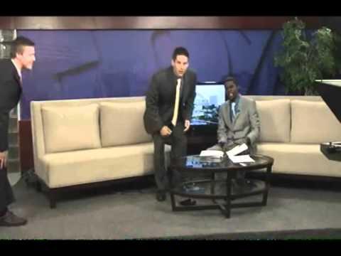 Anchor kicks weatherman in shin live on the air