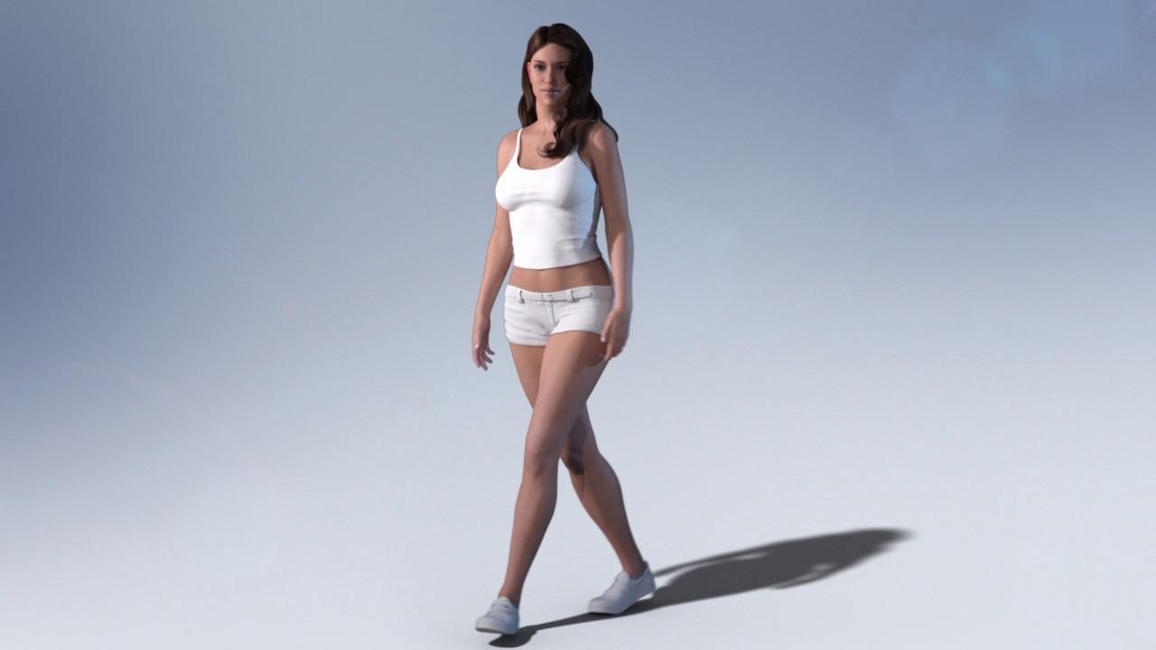 3d woman walk cycle animation maya video   clip