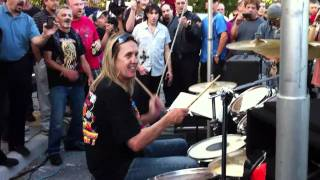 Nicko McBrain, drummer for Iron Maiden, performing at his restaurant Rock n Roll Ribs in Coral Springs, FL 12-12-2010.