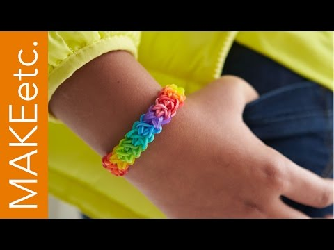 How to make a Rainbow Coloured Double Cross Rubber/Loom Band Bracelet!