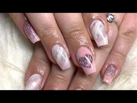Colour block heart acrylic nails