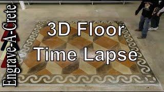 Engrave-A-Crete 3D Floor | Time Lapse | Decorative Concrete Training