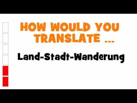 GERMAN TRANSLATION QUIZ = Land Stadt Wanderung