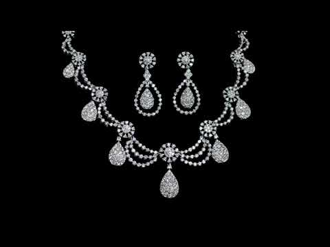 Elegant 18k White Gold 17ct (TDW) Cluster Diamond Necklace Earrings and Ring Set