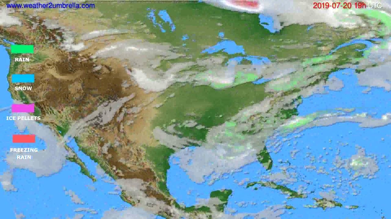 Precipitation forecast USA & Canada // modelrun: 12h UTC 2019-07-17