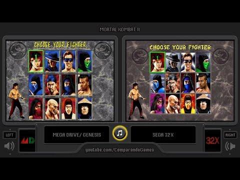 Mortal Kombat II (Sega Genesis vs Sega 32X) Side by Side Comparison