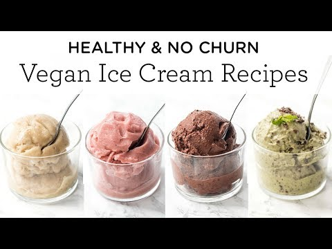 Healthy NO CHURN Vegan Ice Cream Recipes 🍦4 Different Flavors