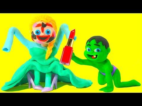 BABY ELSA MAKE UP  Spiderman, Hulk & Frozen Elsa Play Doh Cartoons For Kids
