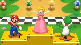 Mario Party 9 - All Lucky Minigames - Mario vs Peach vs Yoshi vs Wario| Caartoons Mee