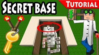 Minecraft: Secret Redstone Base Tutorial + DOWNLOAD / Torch  key / Elevator / 1.8 /