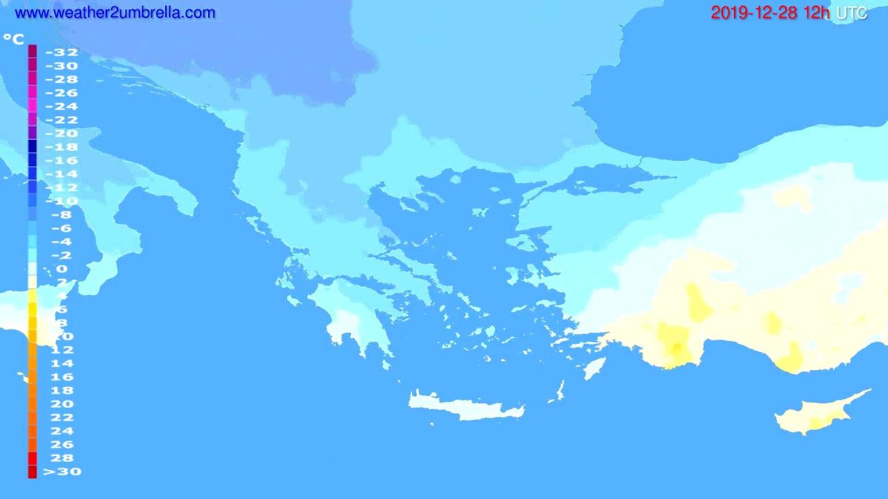 Temperature forecast Greece // modelrun: 12h UTC 2019-12-27