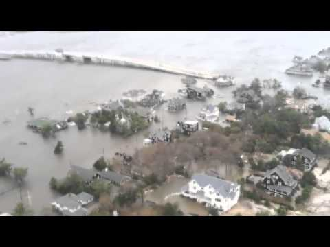 Aerial View of New Jersey Coastline near Seaside Heights after Hurricane Sandy