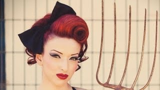 Vintage Updo Pinup Swirl Hair Tutorial Mobile Accessible - YouTube