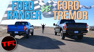 Gas vs Diesel: What's Quicker, Ford's Smallest Or Biggest Pickup Truck? Let's Drag Race To Find Out! by The Fast Lane Truck